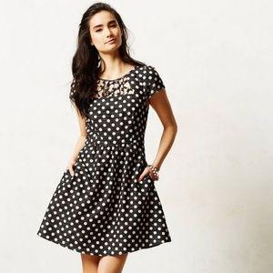 Anthropologie Maeve Nikola Polka Dot Lattice Dress